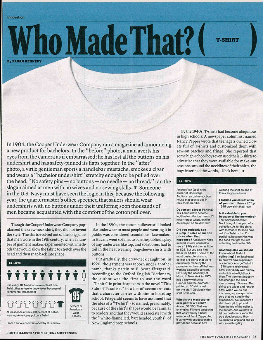 33095953 Since t-shirts were the beginning for us, we especially enjoyed this  article about the introduction of t-shirts into society.